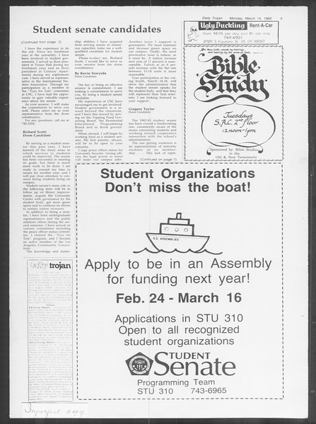 Daily Trojan, Vol. 93, No. 42, March 14, 1983