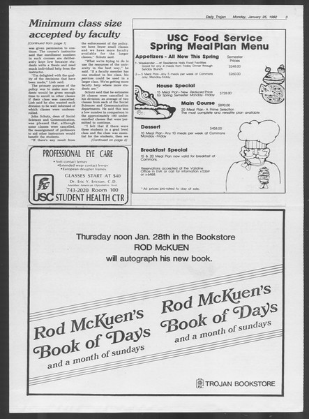 Daily Trojan, Vol. 91, No. 10, January 25, 1982