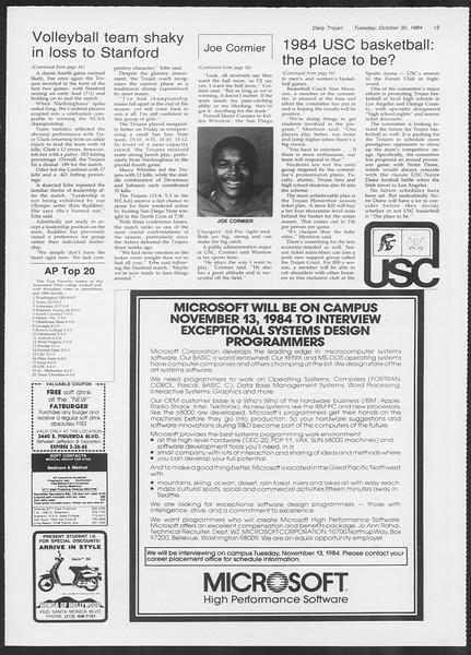 Daily Trojan, Vol. 97, No. 41, October 30, 1984