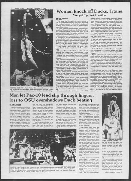 Daily Trojan, Vol. 91, No. 15, February 01, 1982
