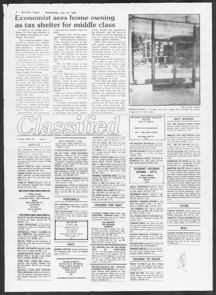 Summer Trojan, Vol. 91, No. 13, July 14, 1982