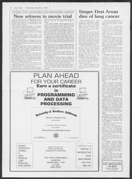 Daily Trojan, Vol. 102, No. 63, December 03, 1986