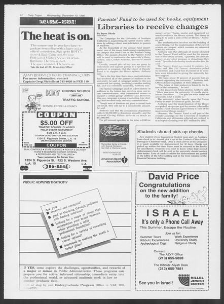 Daily Trojan, Vol. 102, No. 68, December 10, 1986