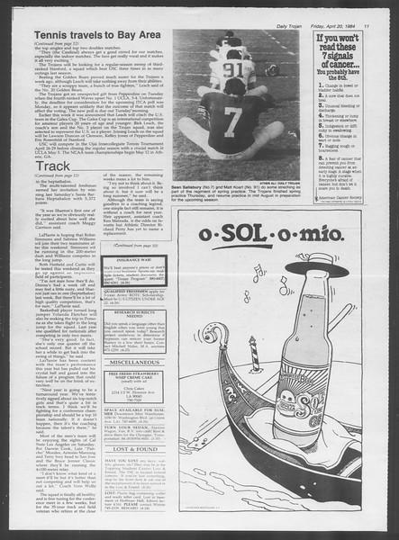 Daily Trojan, Vol. 95, No. 66, April 20, 1984