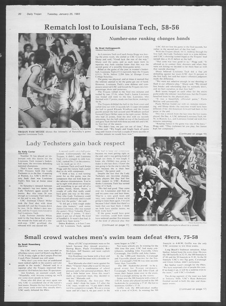 Daily Trojan, Vol. 93, No. 10, January 25, 1983