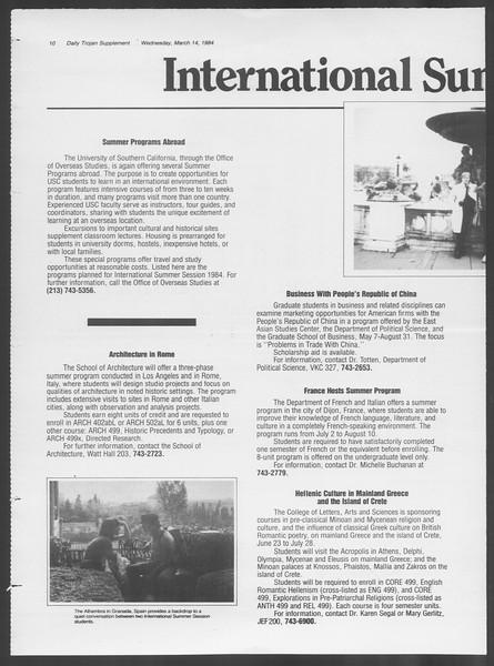 Daily Trojan, Vol. 95, No. 45, March 14, 1984