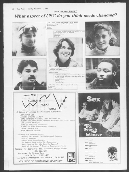 Daily Trojan, Vol. 92, No. 49, November 15, 1982