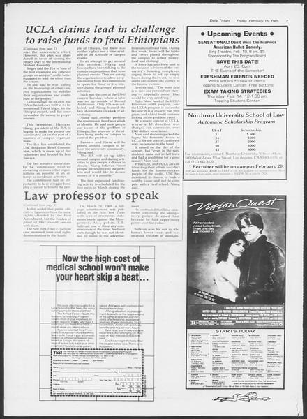 Daily Trojan, Vol. 98, No. 26, February 15, 1985
