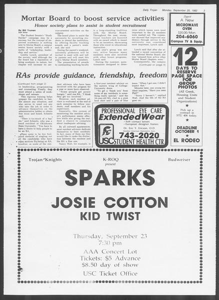Daily Trojan, Vol. 92, No. 10, September 20, 1982