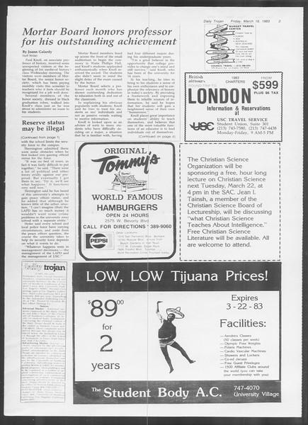 Daily Trojan, Vol. 93, No. 46, March 18, 1983