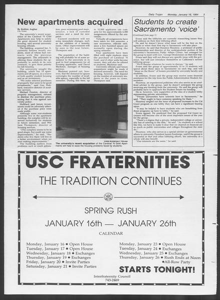 Daily Trojan, Vol. 95, No. 5, January 16, 1984