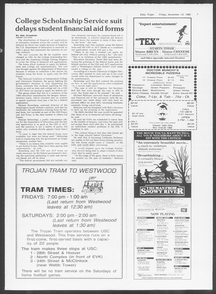 Daily Trojan, Vol. 92, No. 53, November 19, 1982