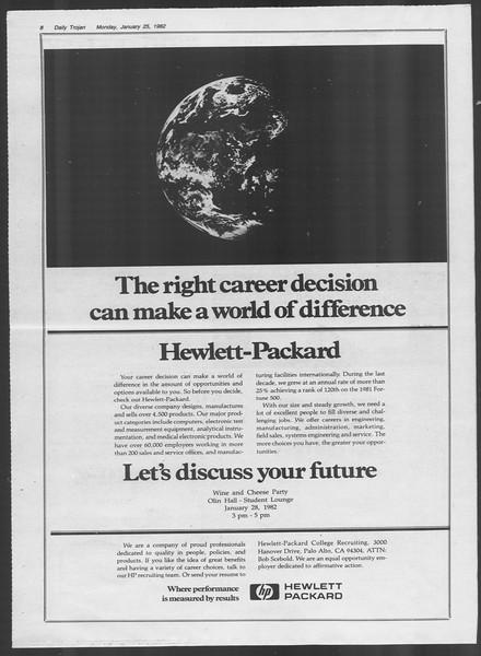 Daily Trojan, Vol. 91, No. 10, January 25, 1982