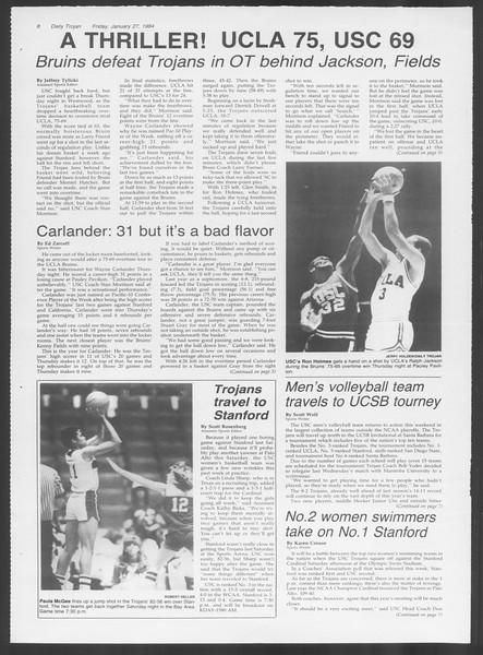 Daily Trojan, Vol. 95, No. 14, January 27, 1984