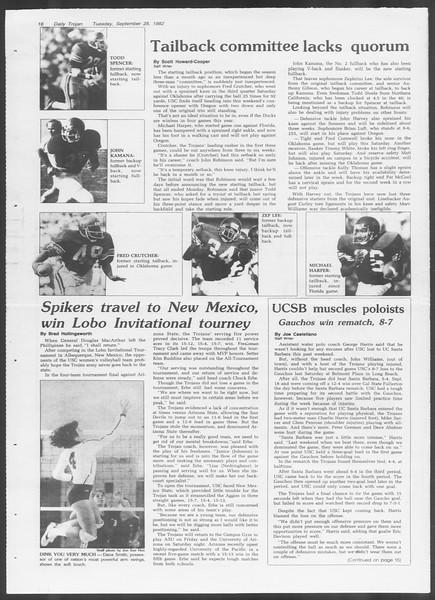 Daily Trojan, Vol. 92, No. 16, September 28, 1982
