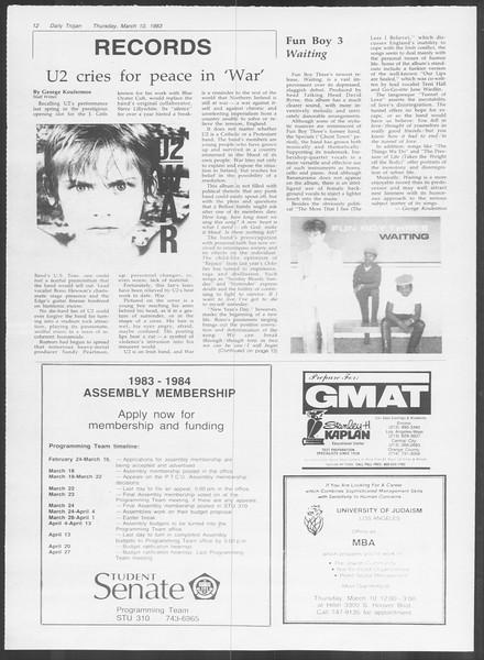 Daily Trojan, Vol. 93, No. 40, March 10, 1983