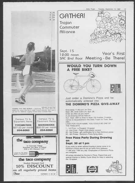 Daily Trojan, Vol. 92, No. 6, September 14, 1982