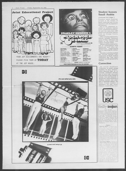 Daily Trojan, Vol. 92, No. 14, September 24, 1982