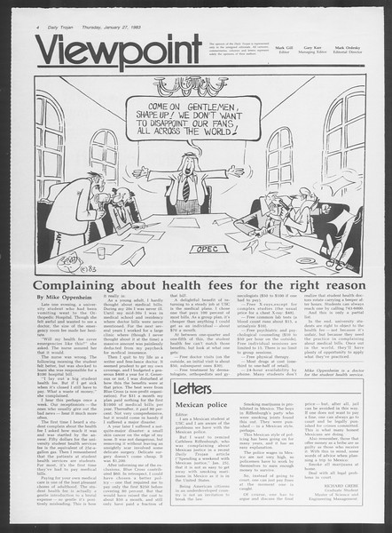 Daily Trojan, Vol. 93, No. 12, January 27, 1983