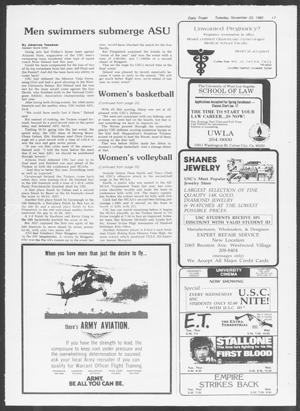 Daily Trojan, Vol. 92, No. 55, November 23, 1982
