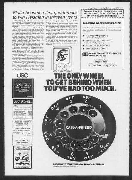 Daily Trojan, Vol. 97, No. 61, December 03, 1984