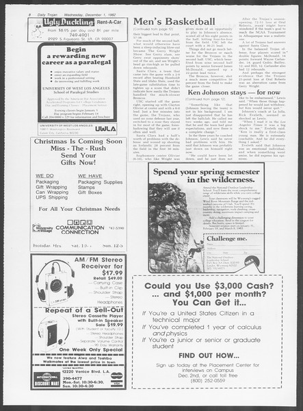 Daily Trojan, Vol. 92, No. 58, December 01, 1982