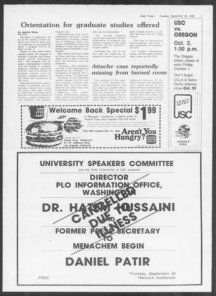 Daily Trojan, Vol. 92, No. 16, September 28, 1982