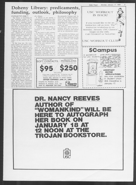 Daily Trojan, Vol. 93, No. 5, January 17, 1983