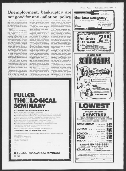 Summer Trojan, Vol. 91, No. 2, June 02, 1982