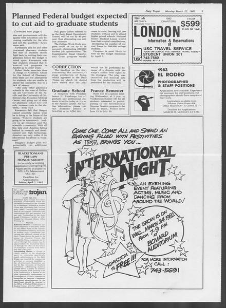 Daily Trojan, Vol. 91, No. 47, March 22, 1982