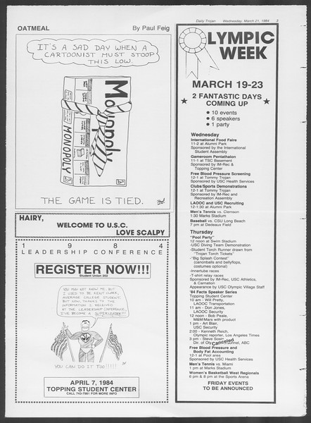 Daily Trojan, Vol. 95, No. 50, March 21, 1984