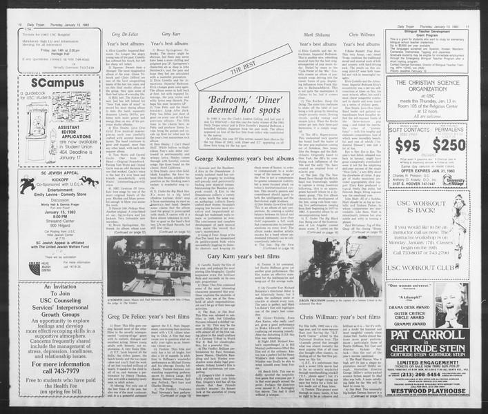 Daily Trojan, Vol. 93, No. 3, January 13, 1983