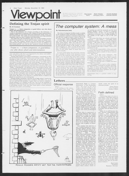 Daily Trojan, Vol. 97, No. 54, November 19, 1984