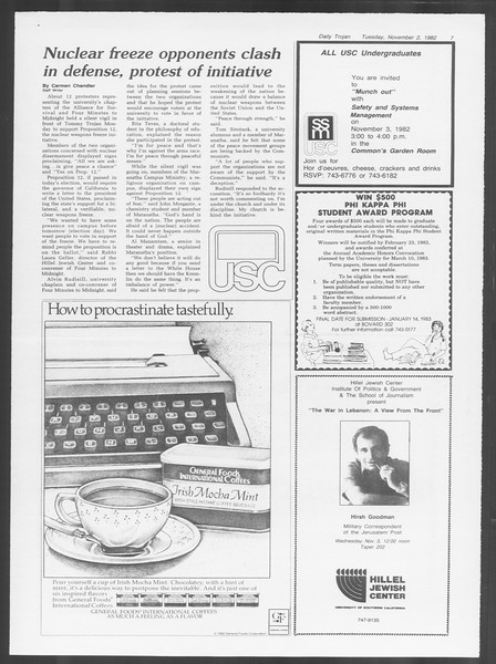Daily Trojan, Vol. 92, No. 40, November 02, 1982