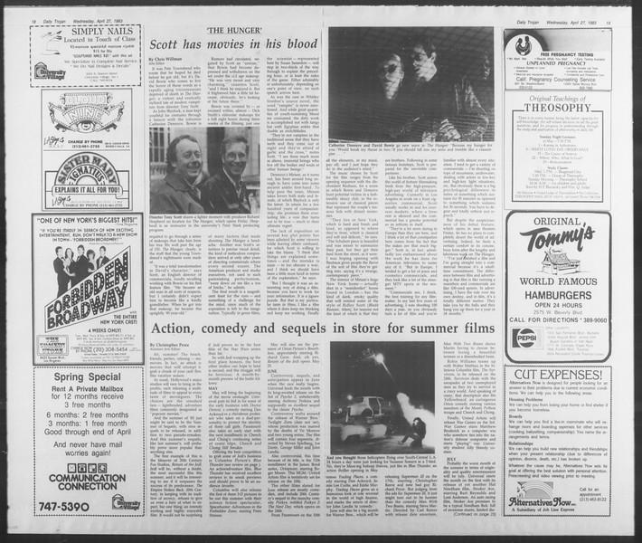 Daily Trojan, Vol. 93, No. 67, April 27, 1983