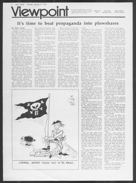 Daily Trojan, Vol. 93, No. 5, January 17, 1983