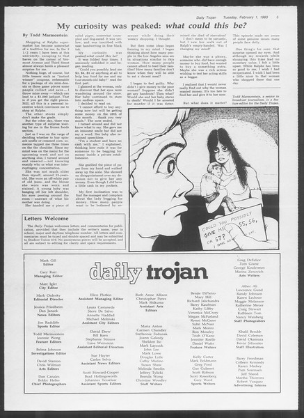Daily Trojan, Vol. 93, No. 15, February 01, 1983