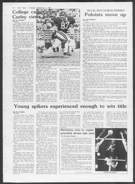 Daily Trojan, Vol. 92, No. 11, September 21, 1982