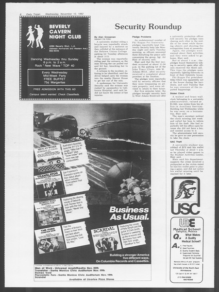 Daily Trojan, Vol. 92, No. 46, November 10, 1982