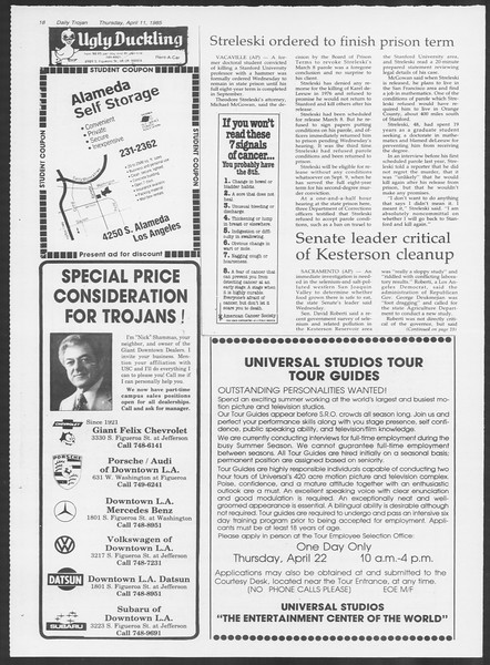 Daily Trojan, Vol. 98, No. 57, April 11, 1985