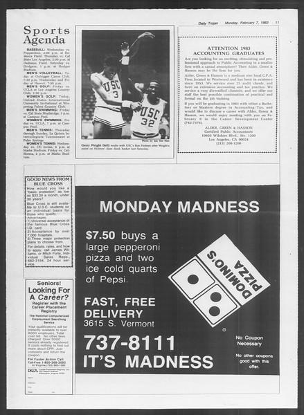 Daily Trojan, Vol. 93, No. 19, February 07, 1983