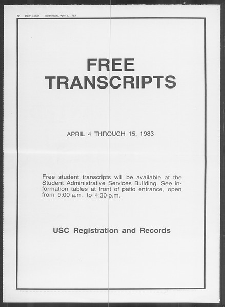 Daily Trojan, Vol. 93, No. 52, April 06, 1983