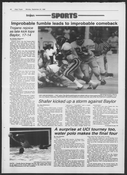 Daily Trojan, Vol. 102, No. 15, September 22, 1986