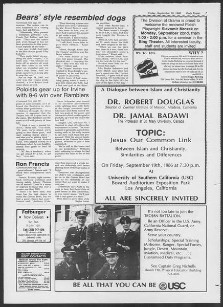 Daily Trojan, Vol. 102, No. 14, September 19, 1986
