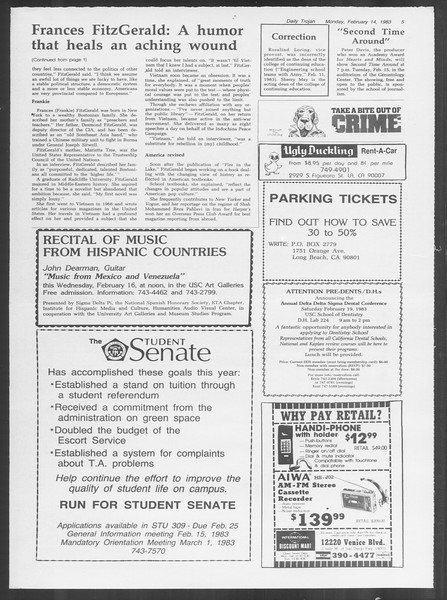 Daily Trojan, Vol. 93, No. 24, February 14, 1983
