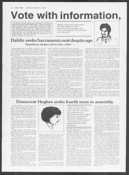 Daily Trojan, Vol. 92, No. 39, November 01, 1982