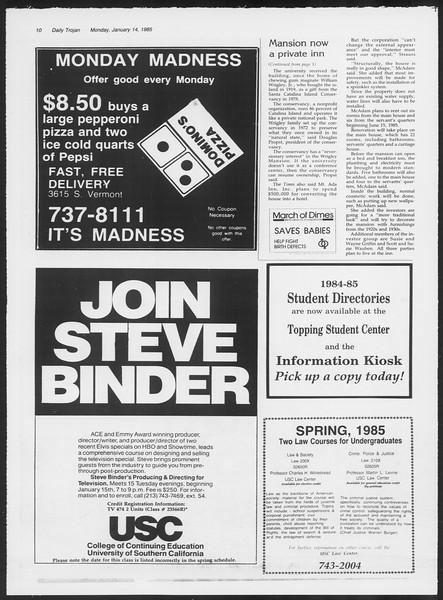Daily Trojan, Vol. 98, No. 2, January 14, 1985