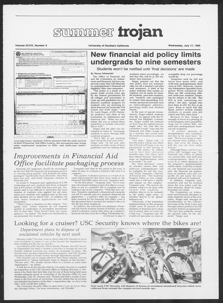 Summer Trojan, Vol. 99, No. 9, July 17, 1985