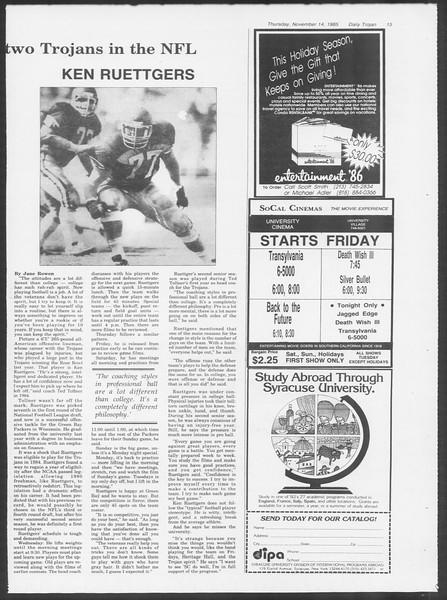 Daily Trojan, Vol. 100, No. 50, November 14, 1985