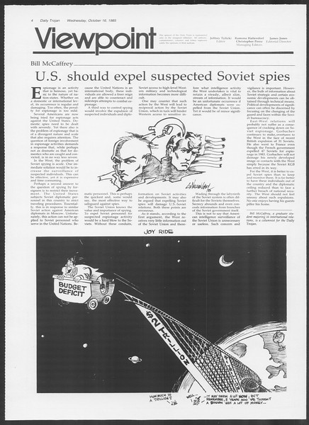 Daily Trojan, Vol. 100, No. 32, October 16, 1985